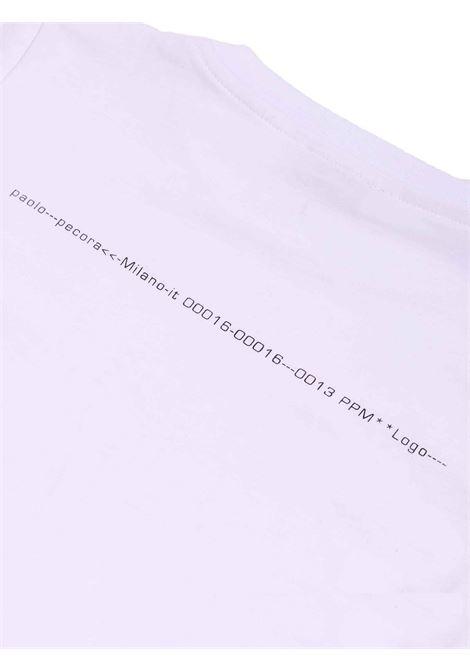 t-shirt bianca con scritta sul retro Paolo Pecora | T-shirt | P2439BIANCO/NERO