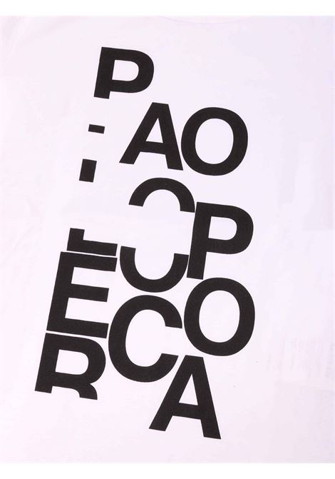 t-shirt bianca con scritta Paolo Pecora | T-shirt | P2440BIANCO/NERO