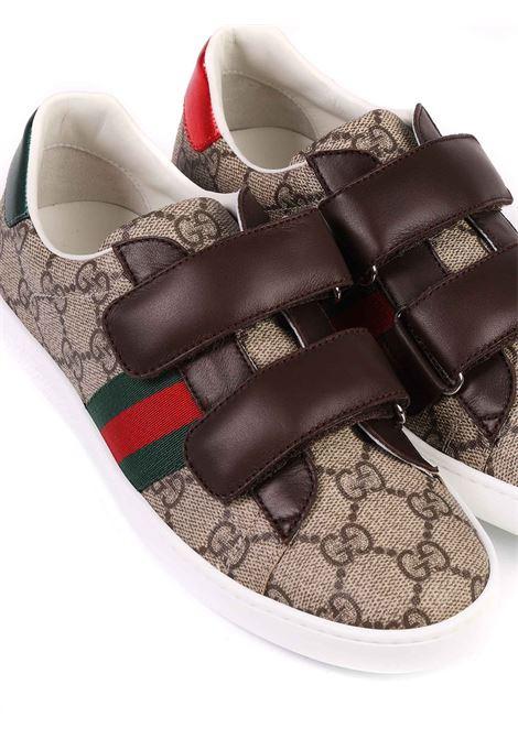 scarpe fondo beige logate marrone e strisce laterali rosso e verdi Gucci | Scarpe | 463090 9C2209797