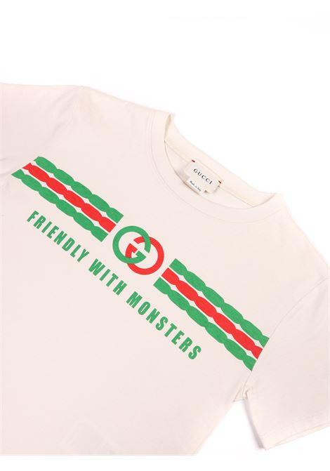t-shirti panna con logo Gucci | T-shirt | 575114 XJB5B9521