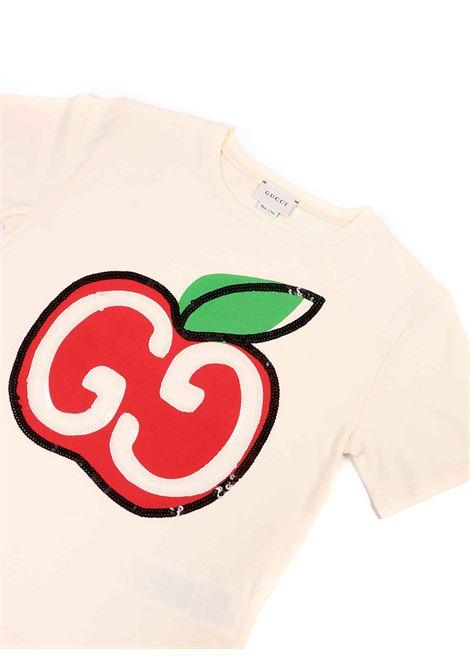 t-shirt mela con logo Gucci | T-shirt | 581019 XJCDC9756