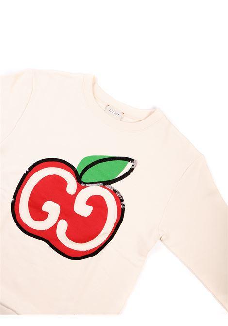 felpa bianca con mela Gucci | Felpa | 612189 XJCBN9061