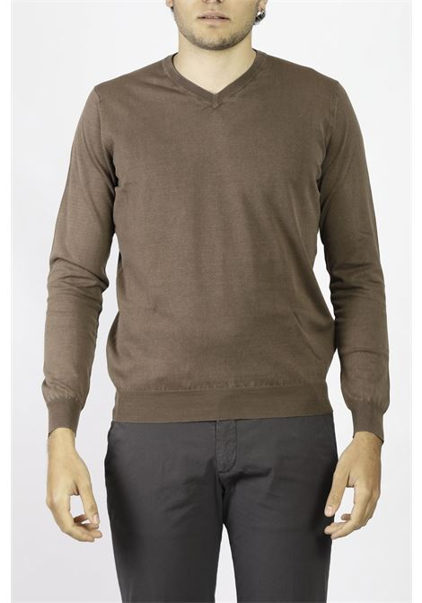 COTTON V-NECK SWEATER FRANCESCO PIERI | Knitwear | FU51101CACAO