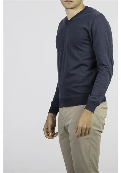 COTTON V-NECK SWEATER FRANCESCO PIERI | Knitwear | FU51101NAVY