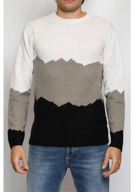 CACHEMIRE BLEND INLAID CREW NECK SWEATER DANIELE FIESOLI | Knitwear | DF901102