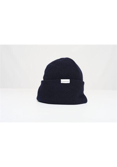 LUXE LOGO BEANIE HAT WOOLRICH | Hats | CFWOAC0127MRUF0600MELTON BLUE