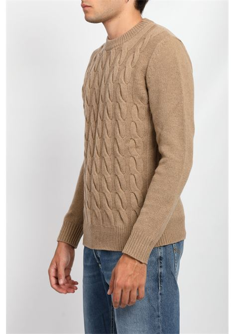 CABLE CREWNECK WOOLRICH | Knitwear | CFWOKN0139MRUF0592ALASKAN BROWN