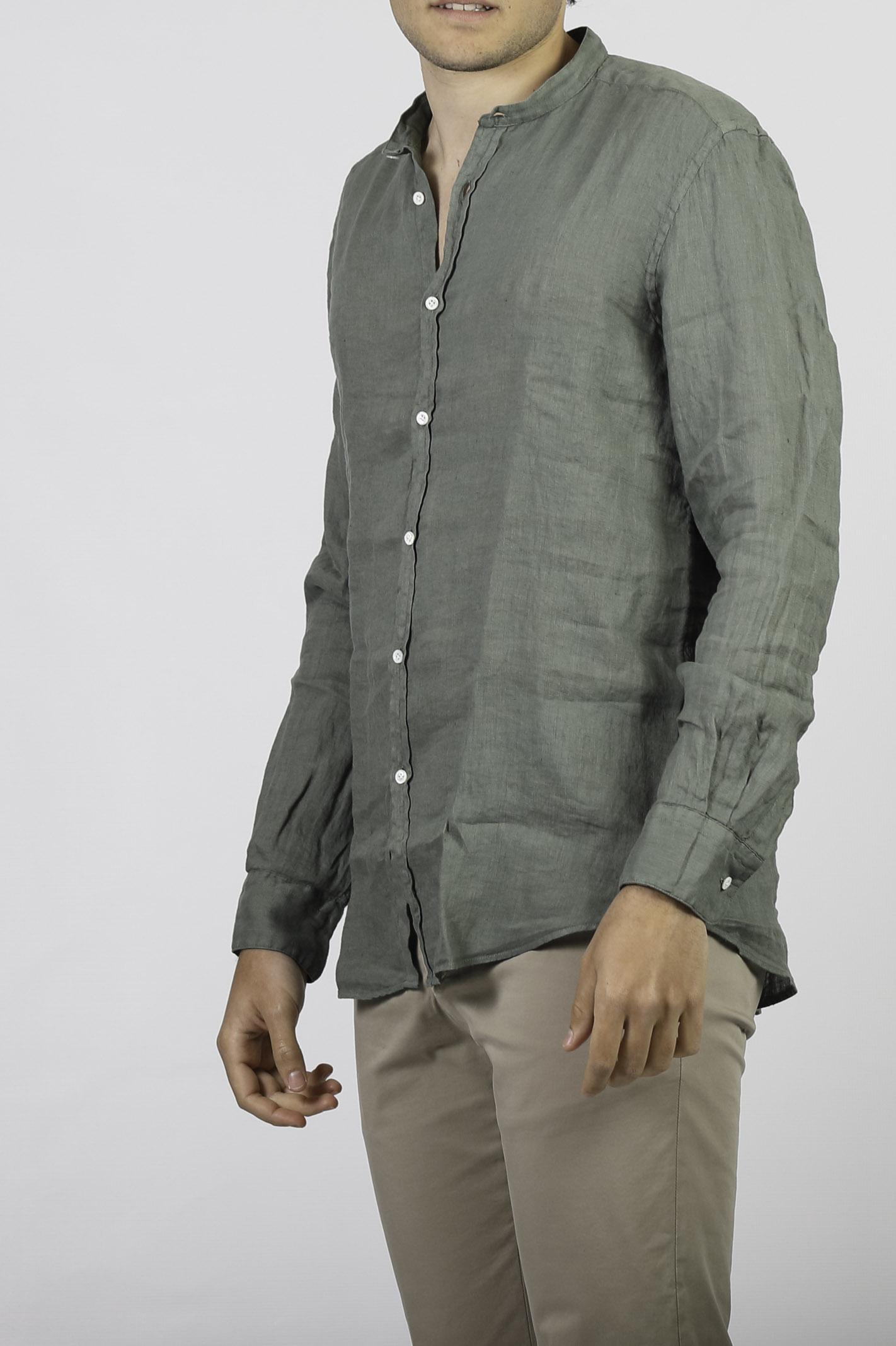 CAMICIA COLLO COREANA IN LINO AGLINI | Camicie | E701.72TCVERDE