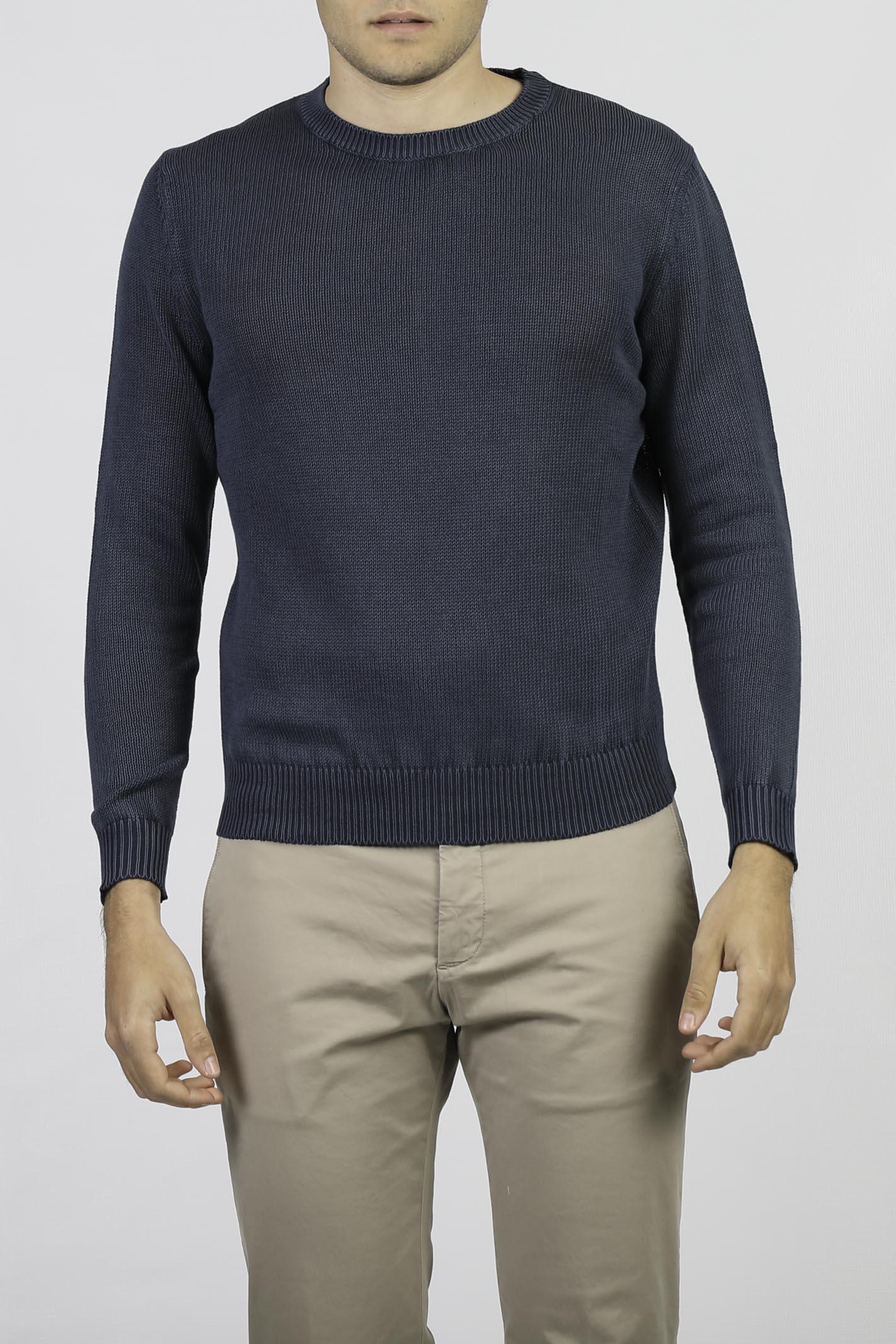 COTTON CREW NECK SWEATER FRANCESCO PIERI | Knitwear | FU54000NAVY