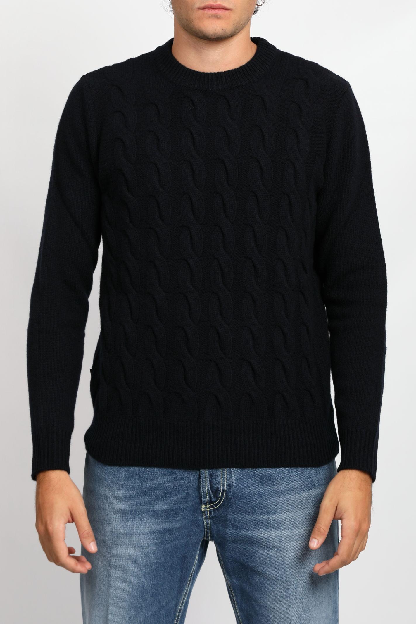CABLE CREWNECK WOOLRICH | Knitwear | CFWOKN0139MRUF0592MELTON BLUE