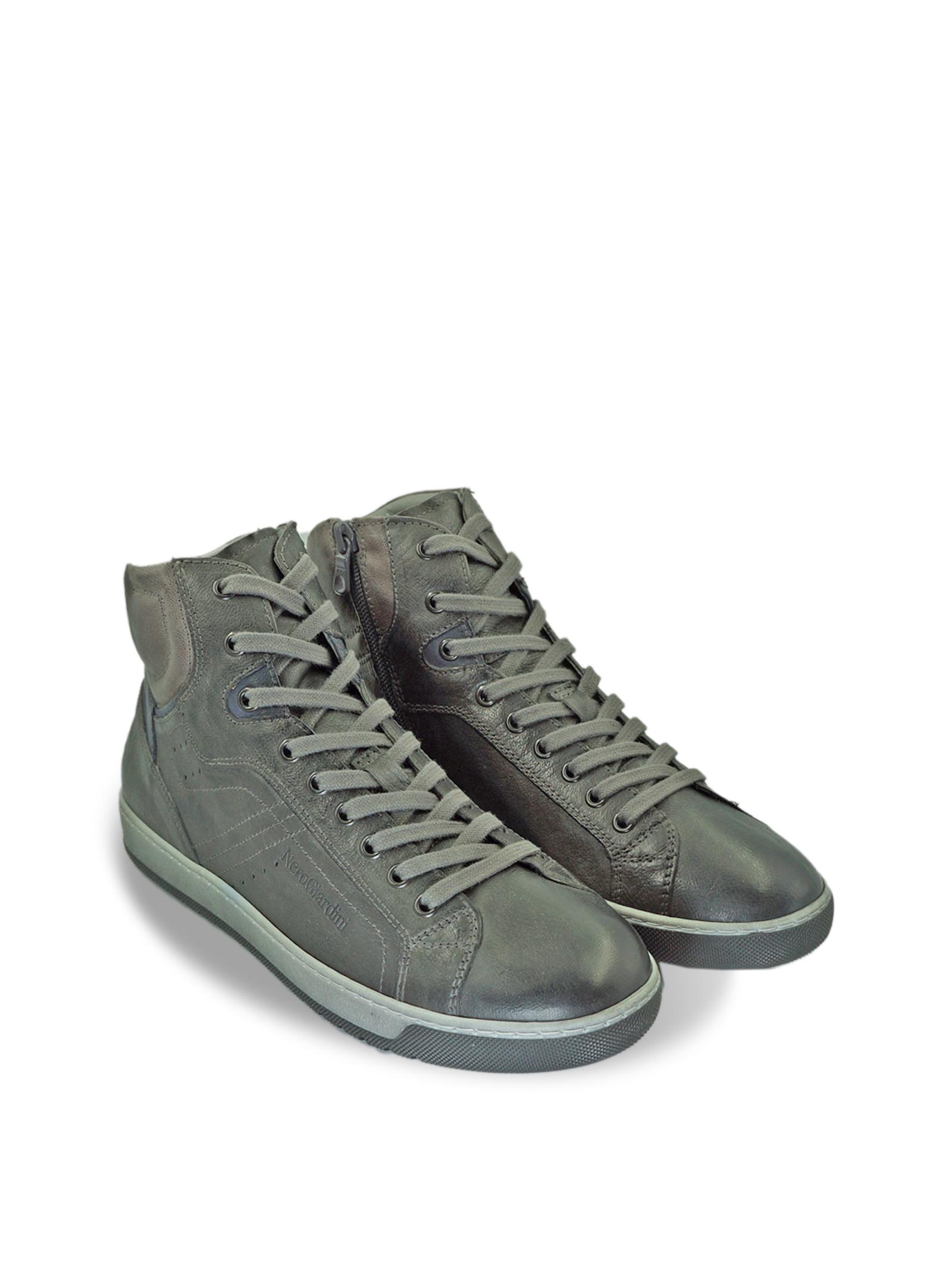 Sneakers da Uomo in Pelle Grigia con Lacci e Zip Nero Giardini | Sneakers | I001731UGRIGIO