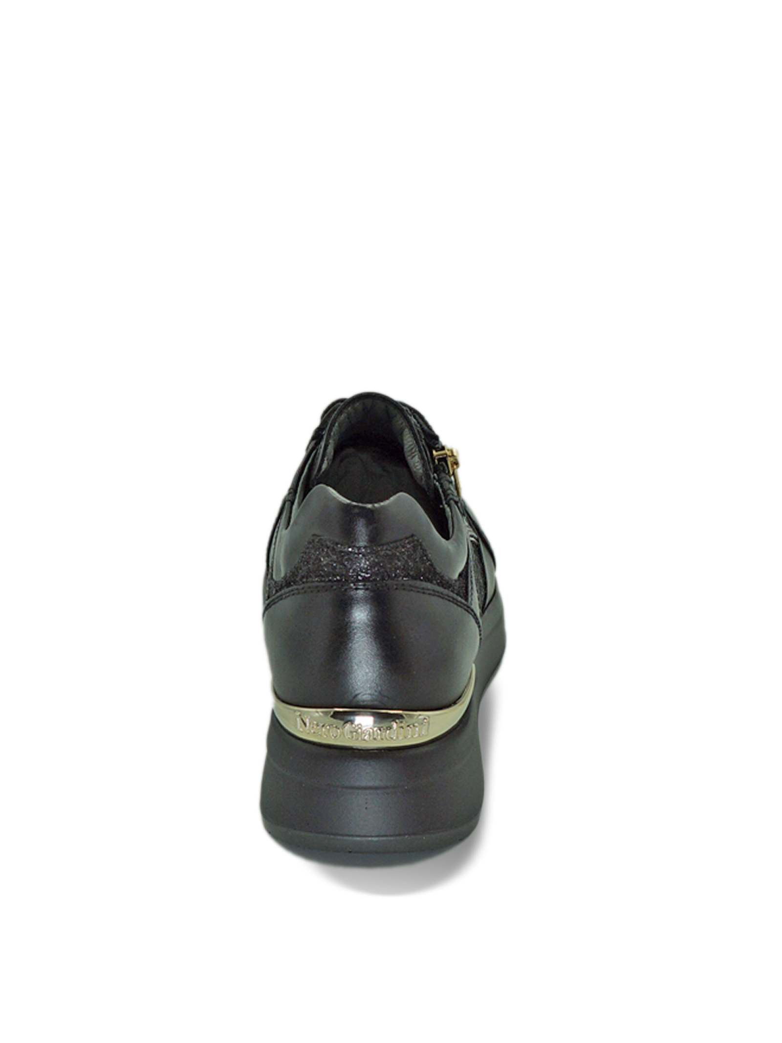 Sneakers Donna in Pelle Nera con Lacci e Zip Nero Giardini | Sneakers | I013183DNERO