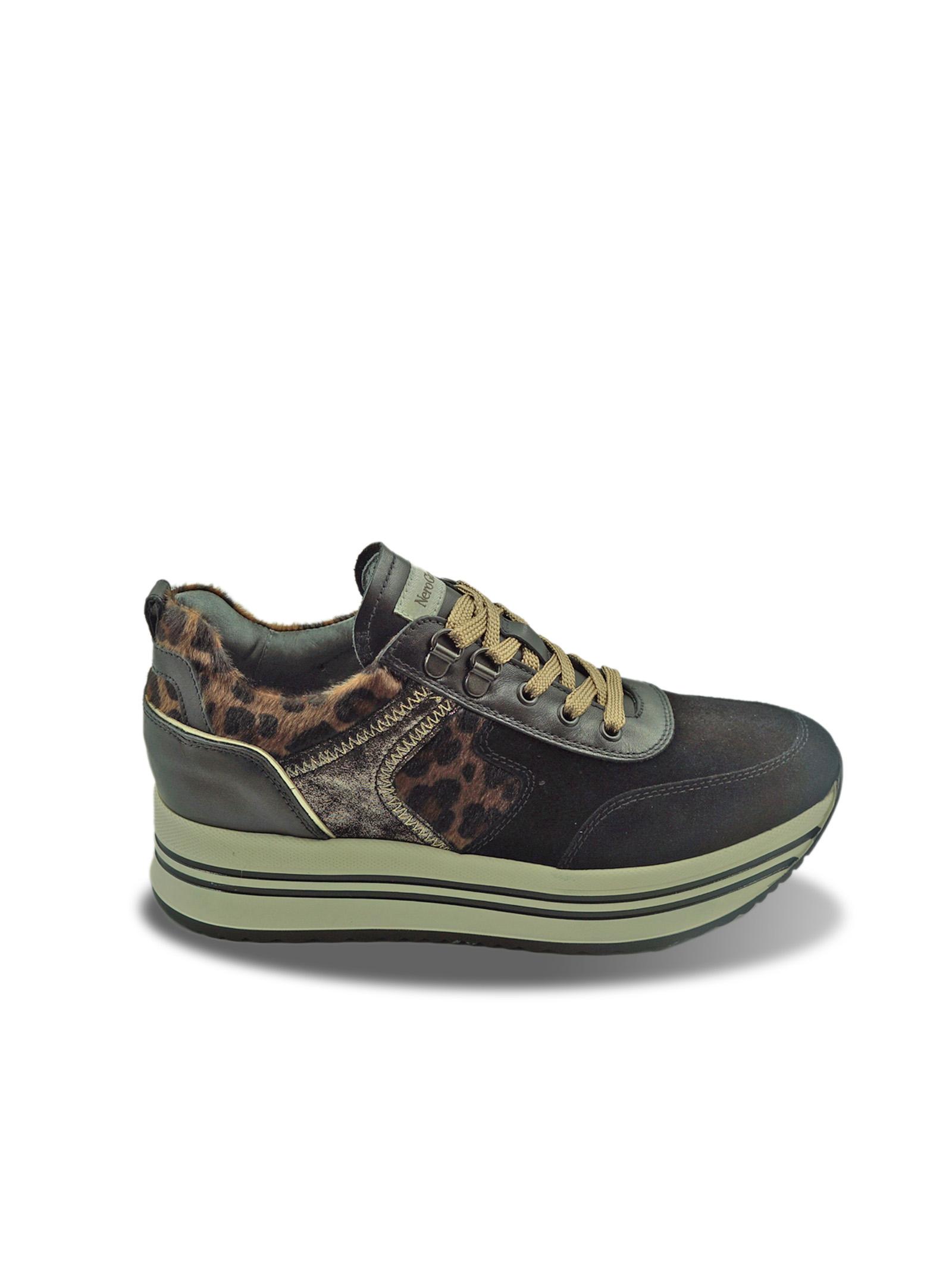 Sneakers Donna Animalier in Pelle Nero Giardini | Sneakers | I013290DNERO