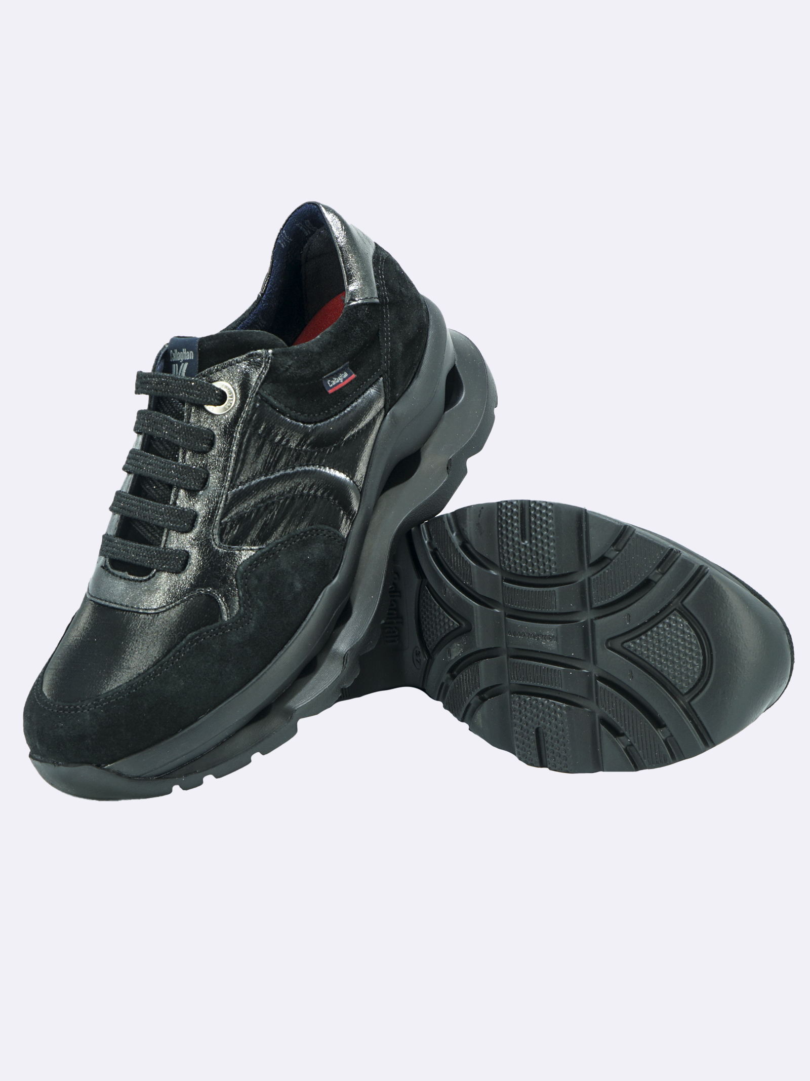 Sneakers Donna in Pelle Nera con Plantare Estraibile Callaghan | Sneakers | 18810NERO