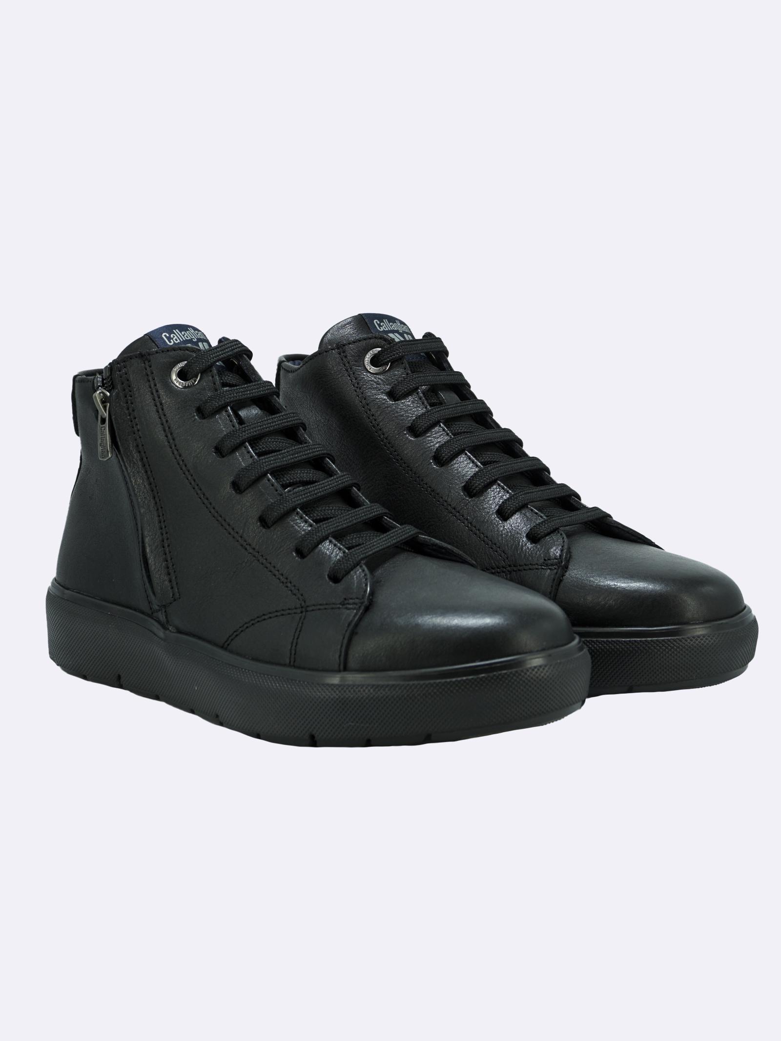 Stivaletto Sneakers Uomo in Pelle Nera con Lacci e Zip Callaghan | Stivaletti | 45510NERO