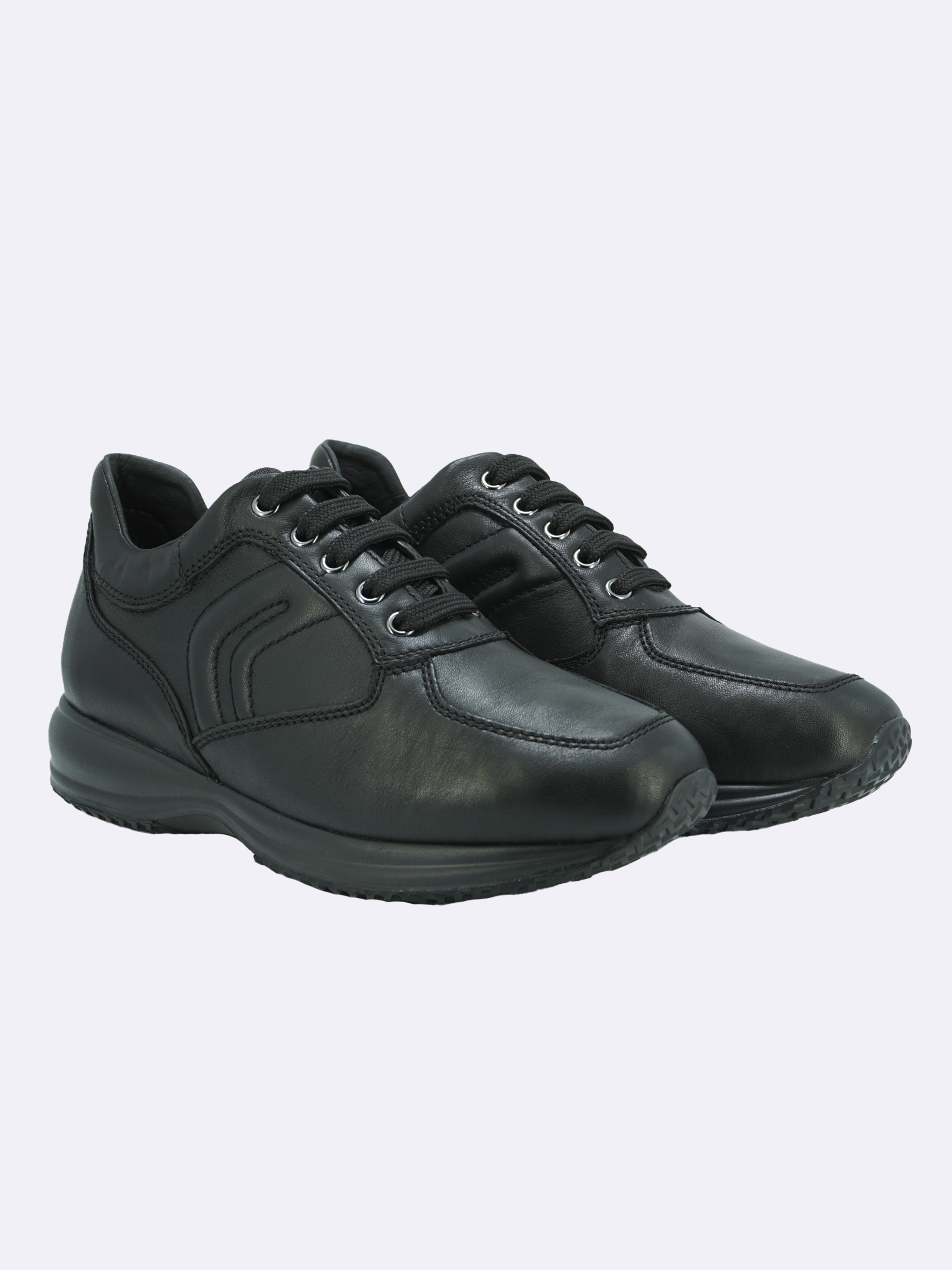 Sneakers Uomo in Pelle Nera Plantare Estraibile GEOX | Sneakers | HAPPYU4356HNEROC9999
