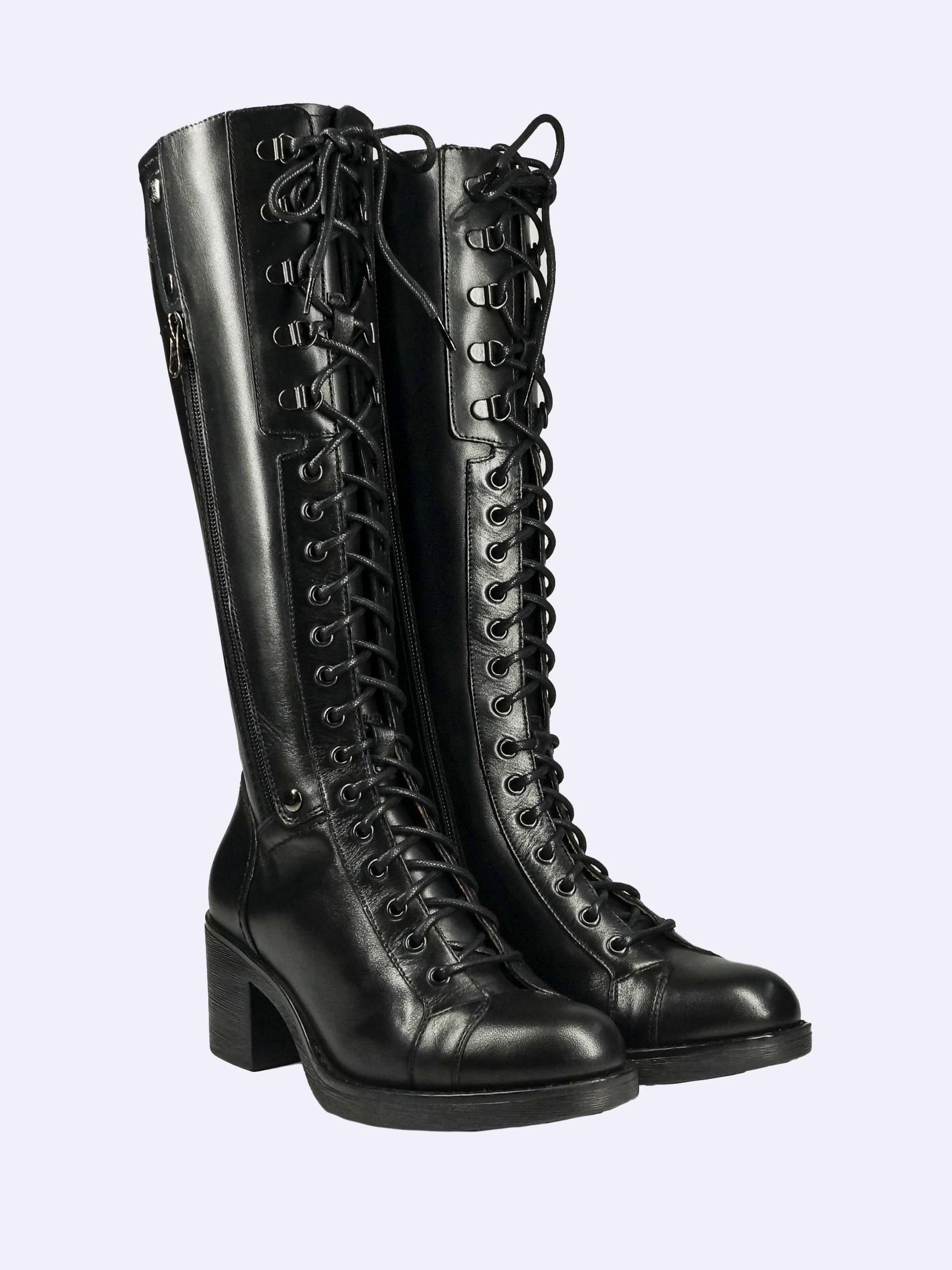 Stivali Donna con Lacci in Pelle Nero Giardini Nero Giardini | Stivali | I014161D100