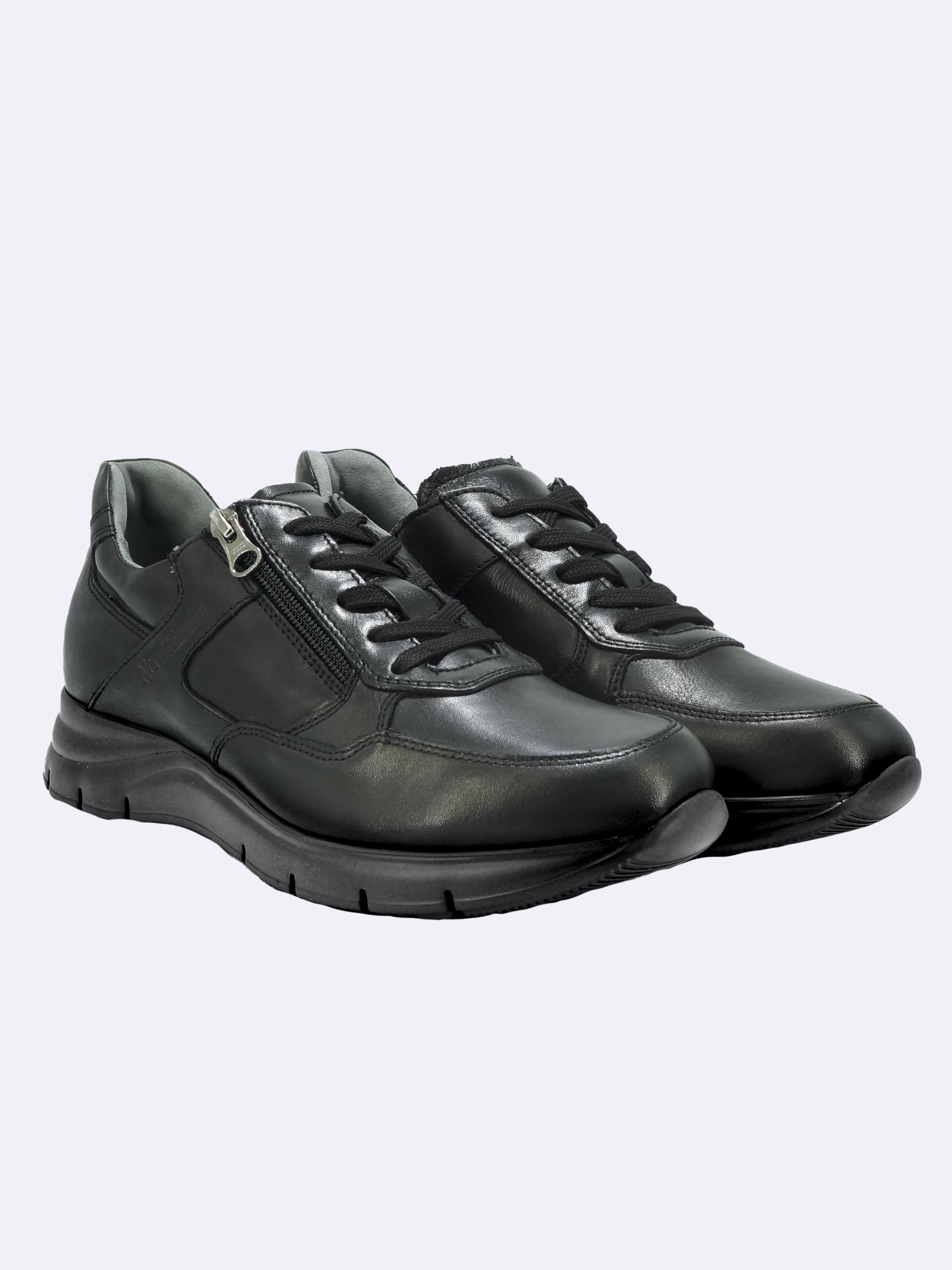 Sneakers Uomo in Pelle Nera con Lacci e Zip Nero Giardini   Sneakers   I102153UNERO100