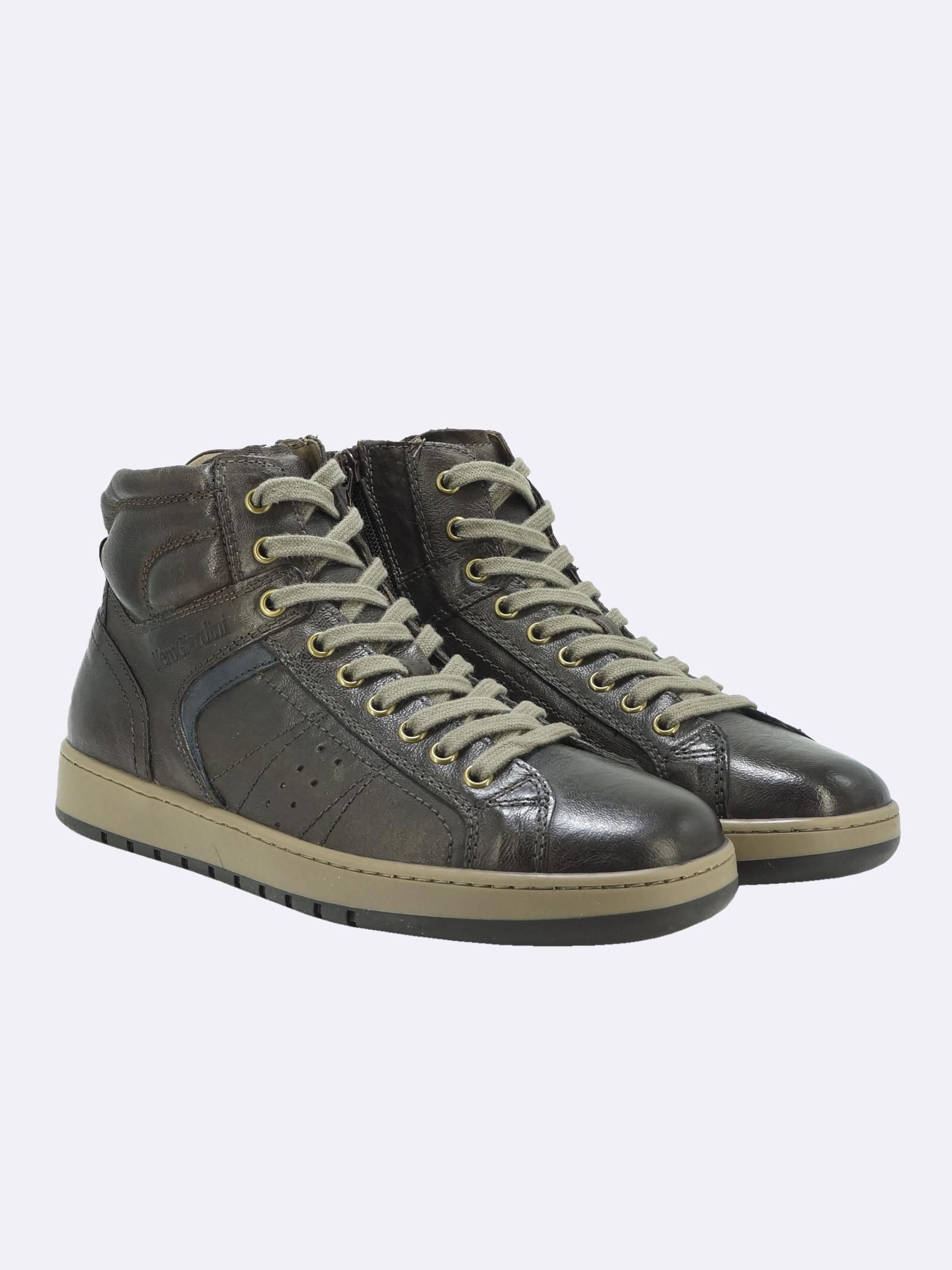 Sneakers Stivaletto Uomo in Pelle Marrone con Lacci e Zip Nero Giardini | Sneakers | I102190UMARRONE300
