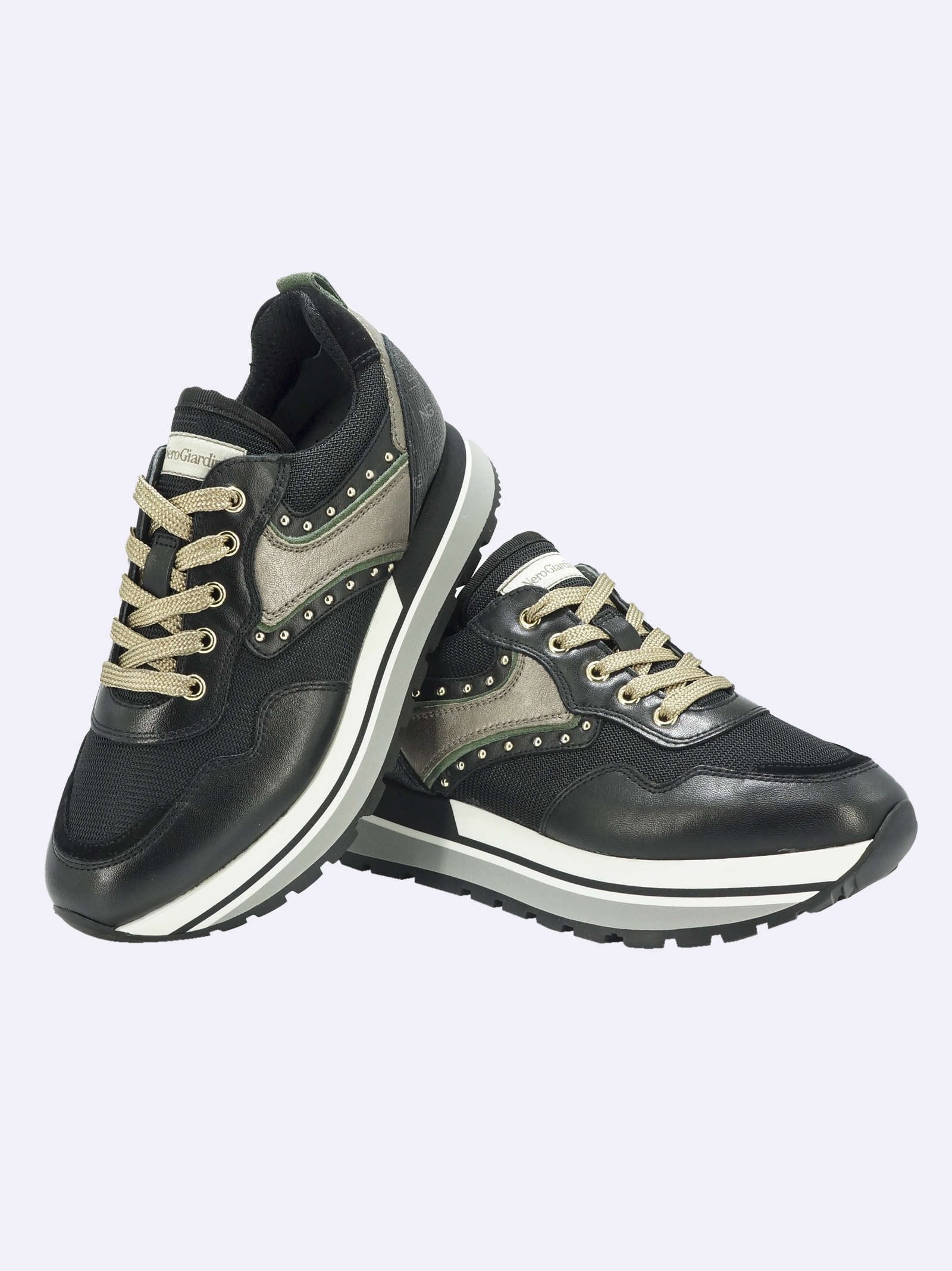 Sneakers Donna in Pelle e Tessuto Multicolor Nero Giardini | Sneakers | I116940DNERO100
