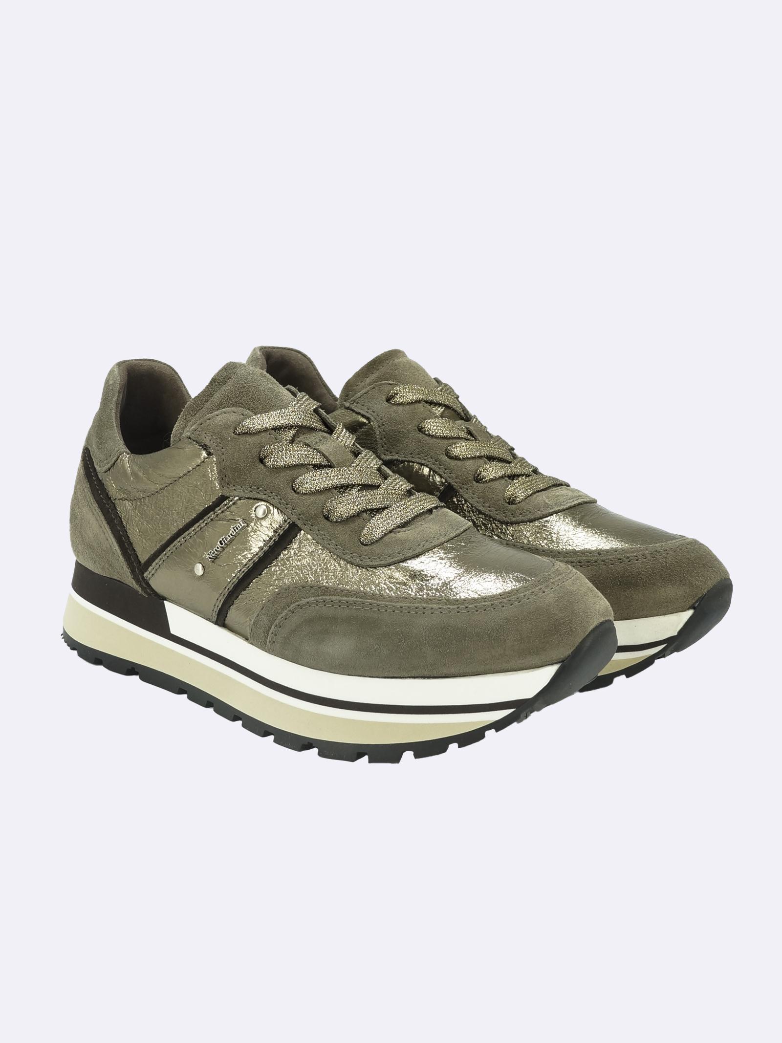 Sneakers Donna in Pelle Laminata e Camoscio Nero Giardini | Sneakers | I116945DTALPA501