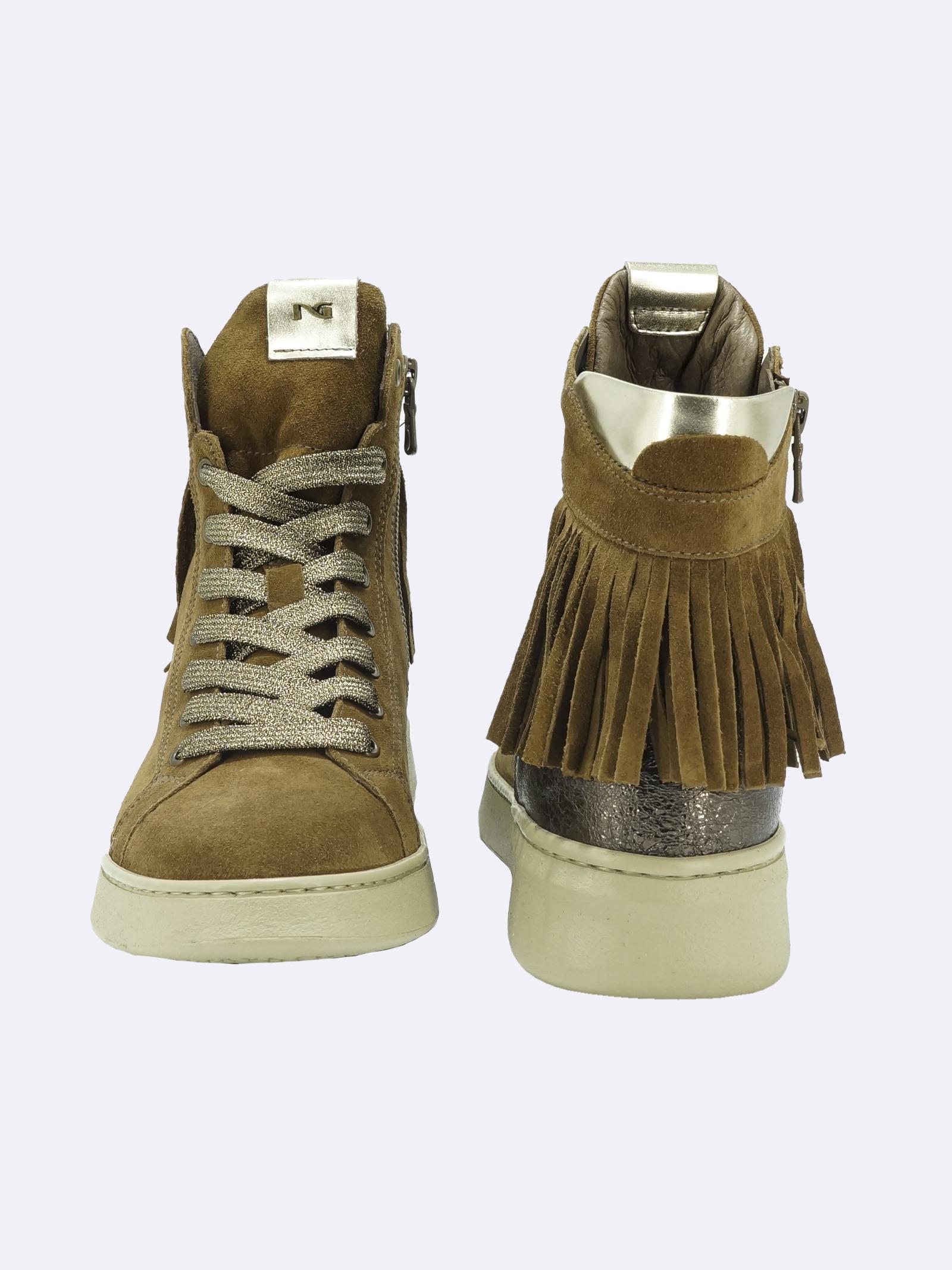 Sneakers Donna in Pelle Cuoio con Lacci Zip e Frange Nero Giardini | Sneakers | I117073DMALTO339