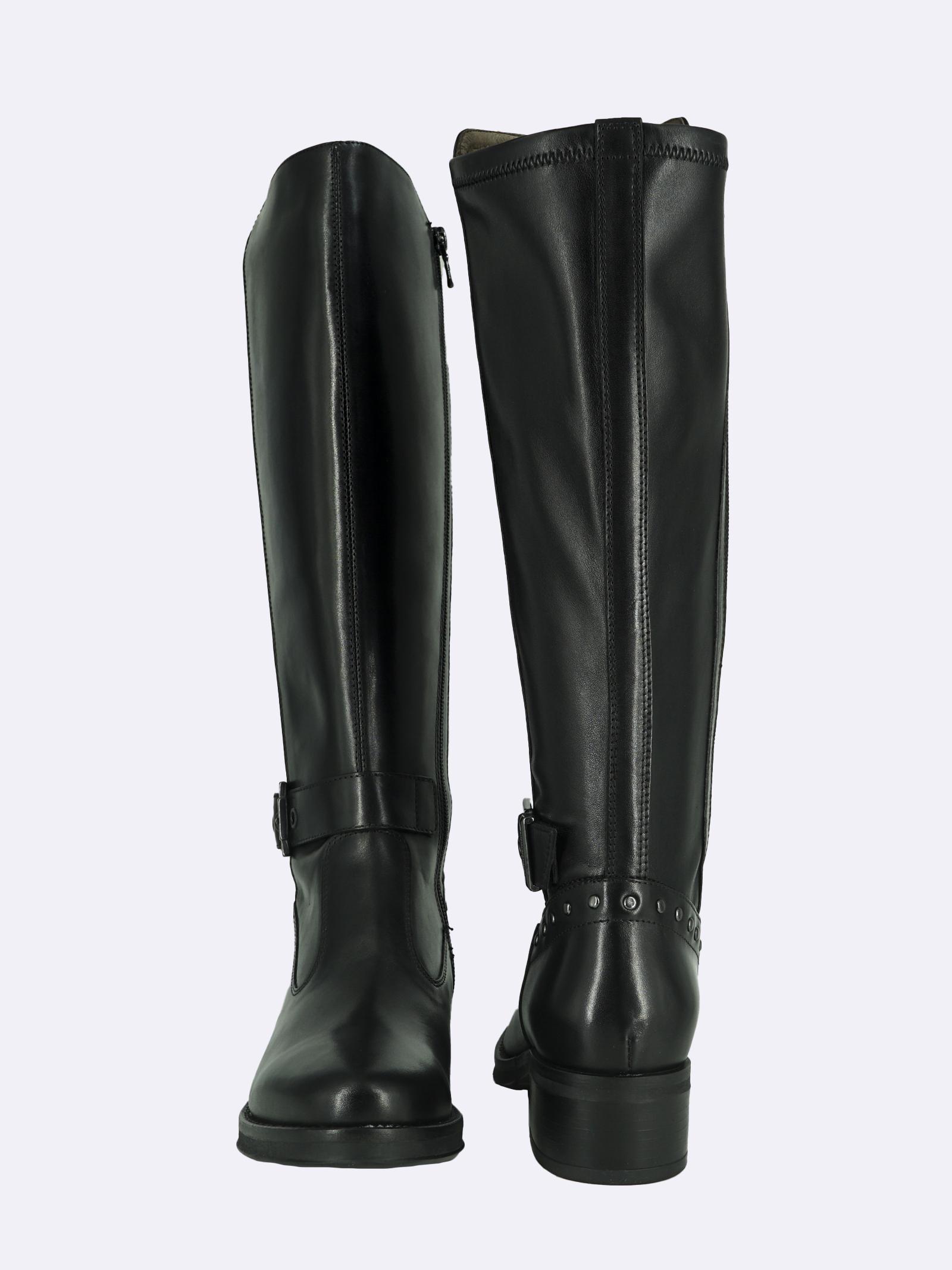 Stivali Donna in Pelle Nero con Borchie Nero Giardini   Stivali   I117600DNERO100