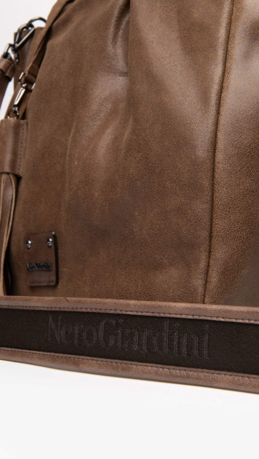 Borsa Shopping da Donna in Pelle Cuoio Nero Giardini | Borse | I141023DMALTO339