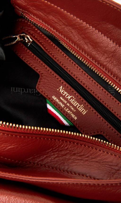 Borsa a Spalla in Pelle Cuoio Inglese Nero Giardini   Borse   I141034DCUOIOINGLESE400
