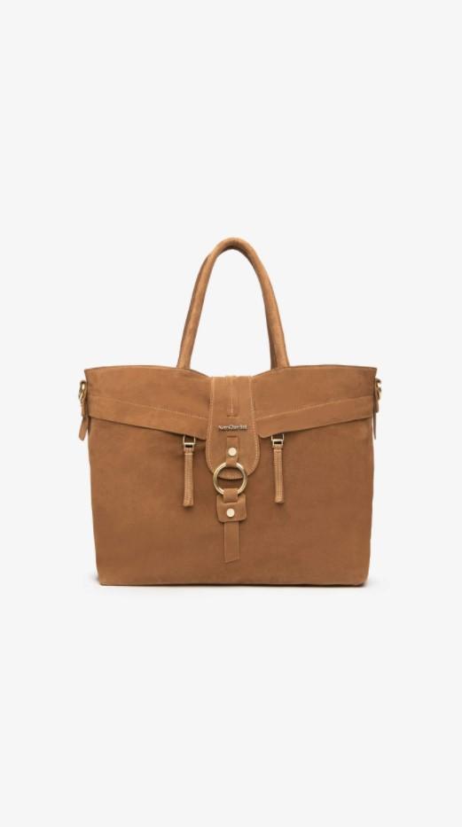 Borsa Shopping Donna in Camoscio Cuoio Nero Giardini   Borse   I141036DMALTO339