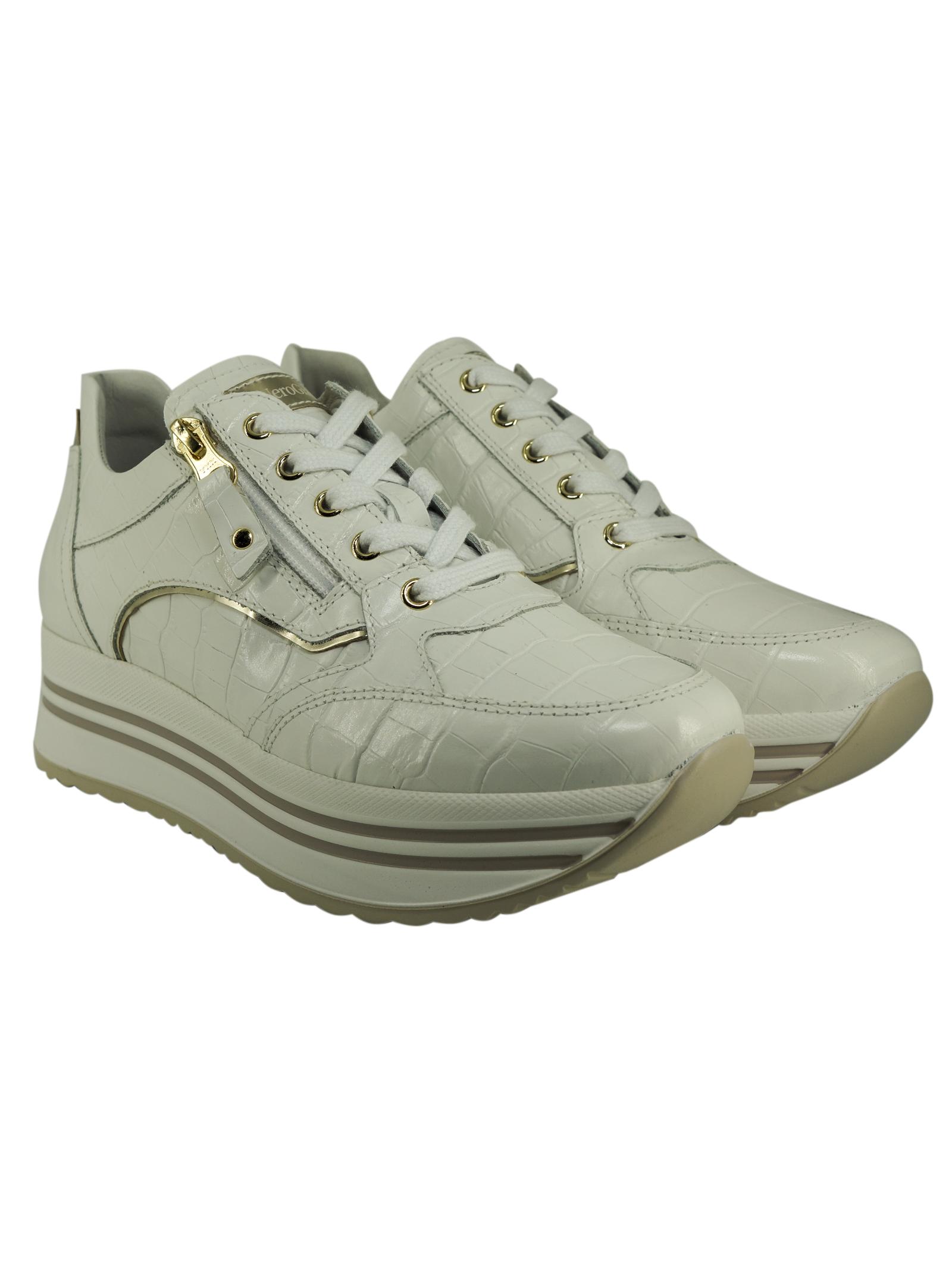 Sneakers Donna in Pelle Nero Giardini Nero Giardini | Sneakers | E115190DBIANCO707