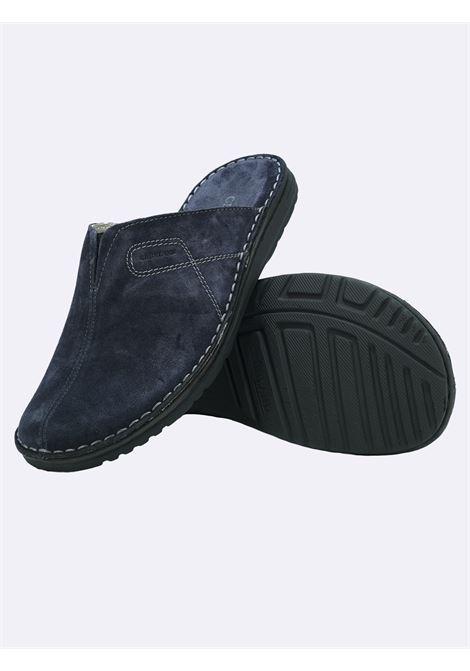 Pantofole Uomo in Pelle Blu Sottopiede Imbottito Grunland | Pantofole | CI2703BLU