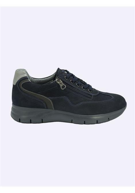 Sneakers Uomo in Pelle Blu con Lacci e Zip Nero Giardini | Sneakers | I102154UBLU205