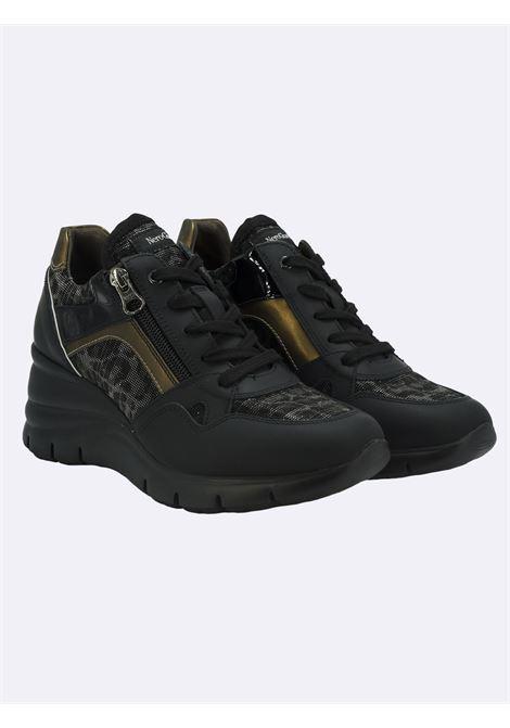Sneakers con Zeppa in Pelle Nera con Lacci e Zip Nero Giardini | Sneakers | I116883DNERO100