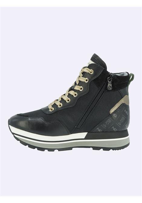 Sneakers in Pelle e Tessuto Multicolor con Lacci e zip Nero Giardini | Sneakers | I116943DNERO100