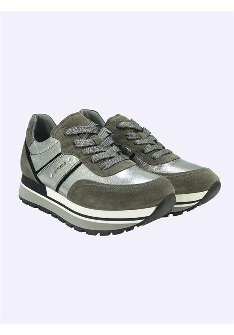 Sneakers Donna in Pelle Laminata e Camoscio Nero Giardini | Sneakers | I116945DCEMENTO120