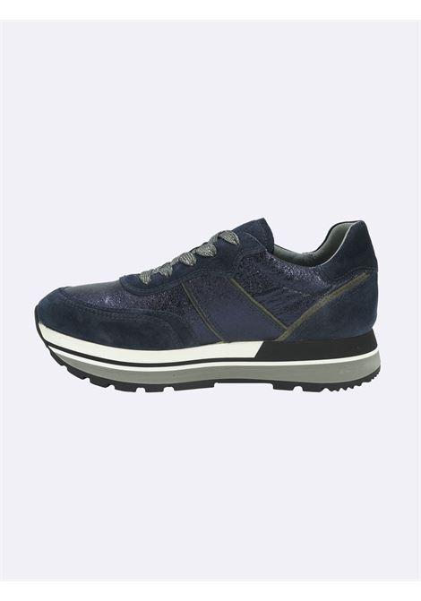 Sneakers Donna in Pelle Laminata e Camoscio Blu Nero Giardini | Sneakers | I116945DBLU207