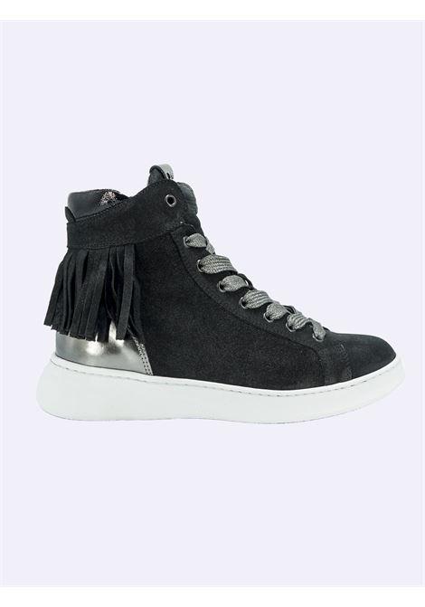 Sneakers Donna in Pelle Nera con Lacci Zip e Frange Nero Giardini | Sneakers | I117073DNERO100