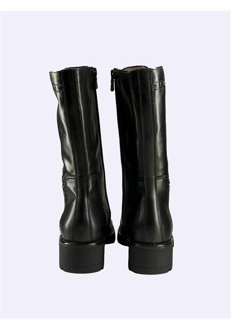 Stivali Anfibi Donna in Pelle Nera con Lacci e Zip Nero Giardini | Anfibi | I117666DNERO100
