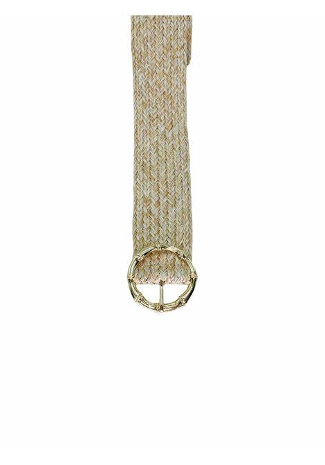 cintura in paglia con dettaglio fantasia bambu PIECES | Cintura | 17112927BEIGE