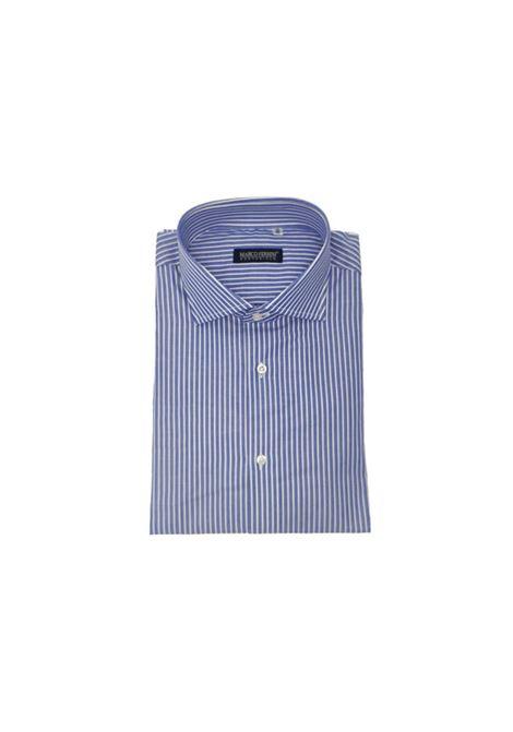 camicia bastoncino cotone fondo pieno MARCO FERRINI | Camicia | COTTON BASTONCINO 60BLU