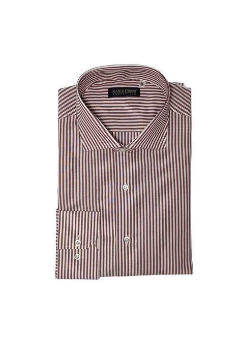 camicia bastoncino cotone fondo pieno MARCO FERRINI | Camicia | COTTON BASTONCINO 60BORDO