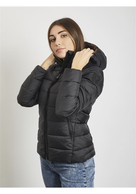 STRIPED PADDED DOWN JACKET WITH HOOD BLAUER | Quilted Jacket | 20WBLDC02086 999NERO