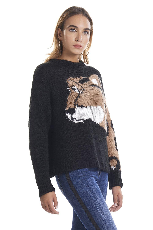 Maglia in lana con ghepardo  RELISH | Maglie | RDA19024640761199
