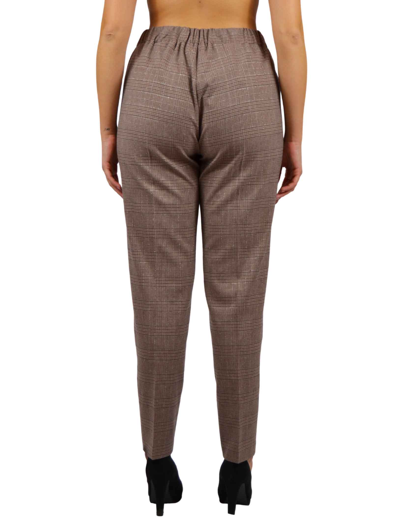 Trousers with elastic Waist America cut pockets prince of wales pattern  BENEDETTA VALERI |  | SATURNIOSUSHY