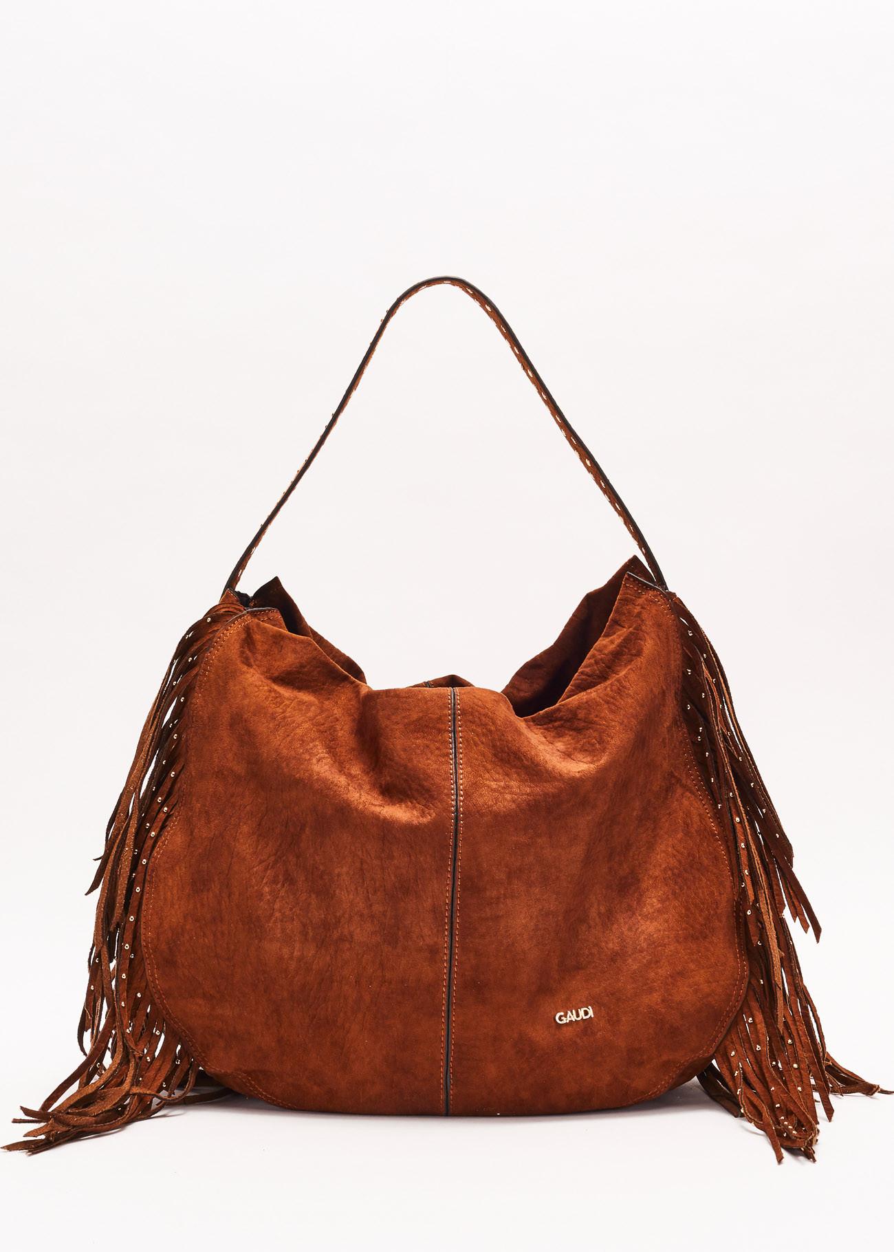 Shoulder bag made of soft fabric effect suede GAUDI borse |  | V0A-71420MARRONE