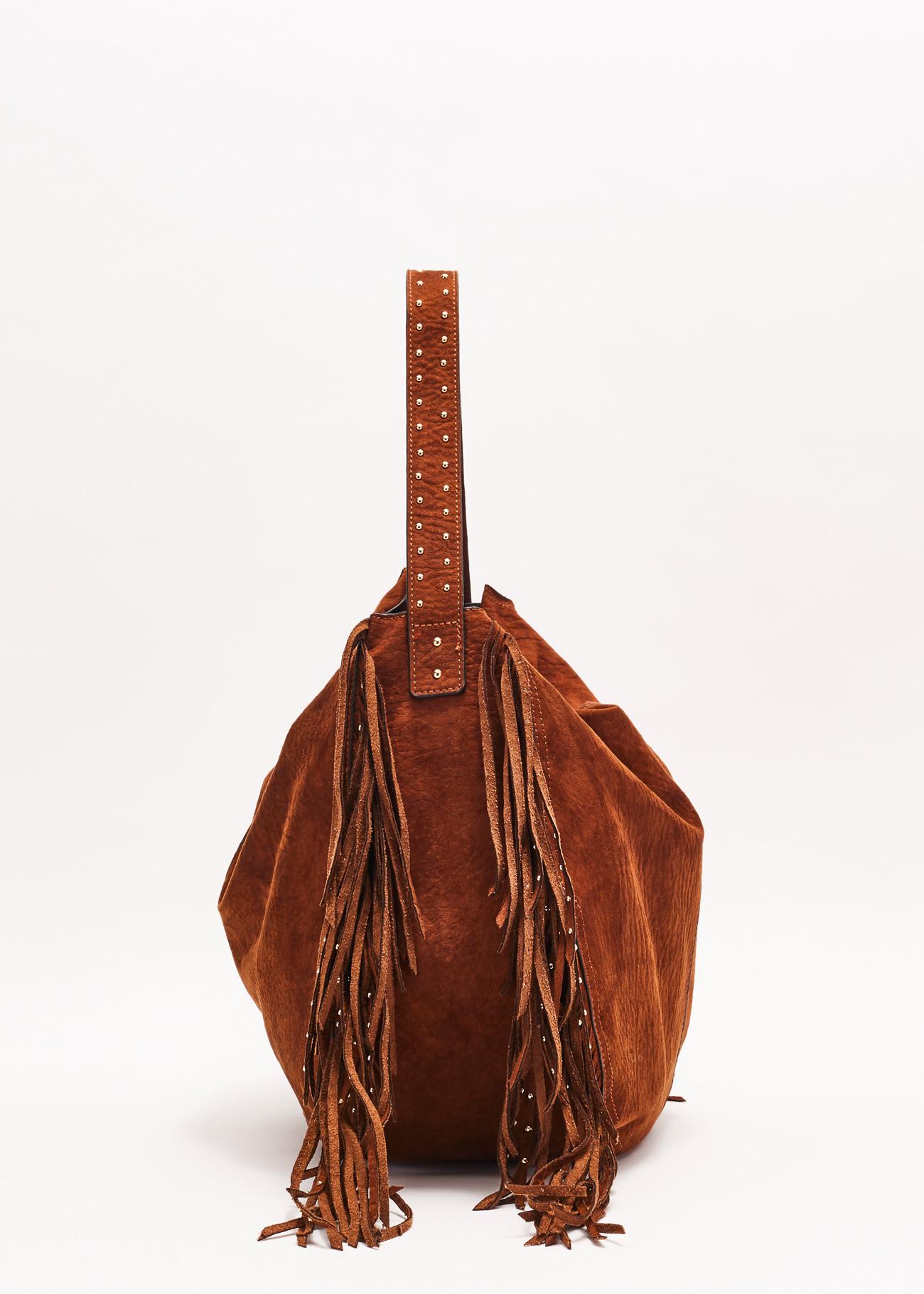 Shoulder bag made of soft fabric effect suede GAUDI |  | V0A-71420MARRONE