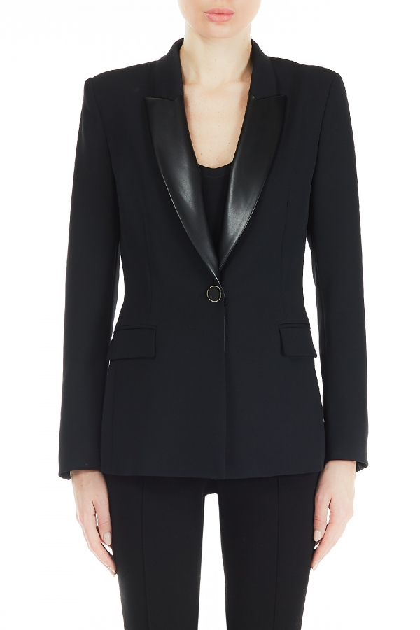 Single-breasted jacket with faux leather collar LIUJO COLLECTION      CF0041T240422222