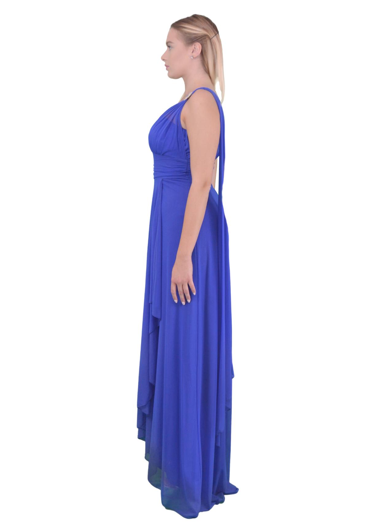 Long dress one shoulder  SAVUKA |  | 31617COBALTO