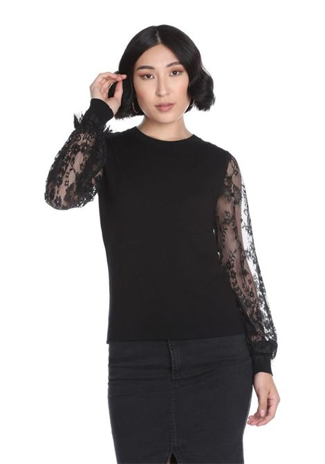 Neckline sweater , long sleeves with lace sleeves  RELISH |  | MIRANDRA1199